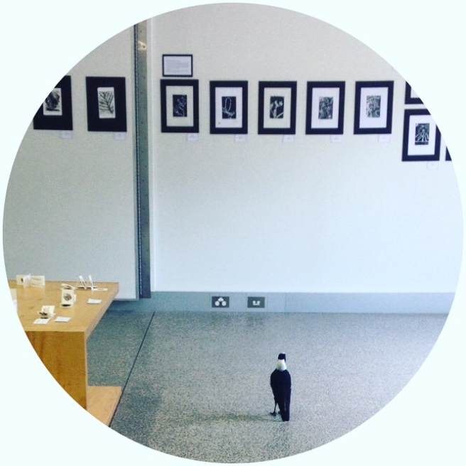 The first visitor to the exhibition - definintely a connoiseur of black and white prints