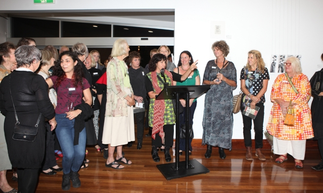 Judy Watson with some of the exhibiting artists (photo Cheryl Nonmus from On Q Photography)